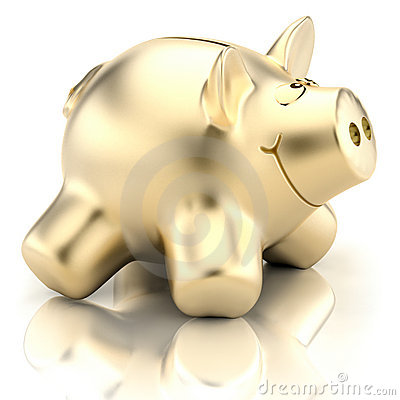 Free Golden Piggy Bank Royalty Free Stock Photo - 12032595