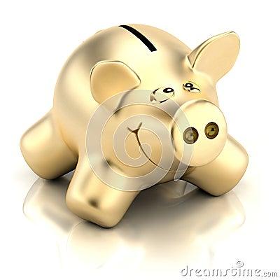 Free Golden Piggy Bank Royalty Free Stock Photos - 12032598