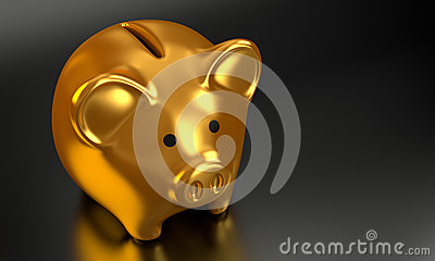Golden Piggy Bank 3D Render 006