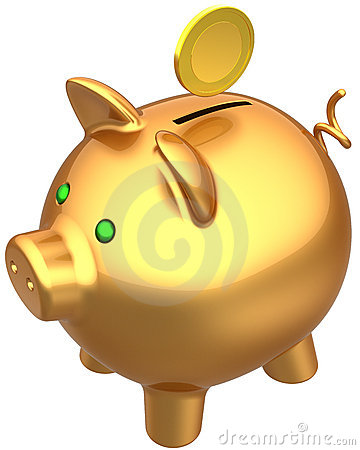 Golden piggy bank with a coin