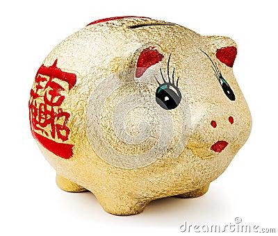 Golden piggy moneybox
