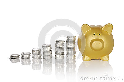 Golden Piggybank With Coins