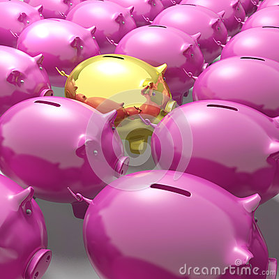 Golden Piggybank Among Group Showing Unique Banking Accounts