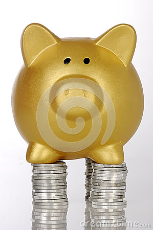 Free Golden Piggybank With Coins Stock Images - 30863974