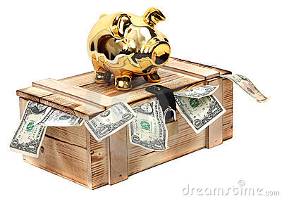 Golden piggybank on wooden case with dollar notes