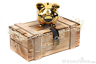 Golden piggybank on wooden case locked with padloc