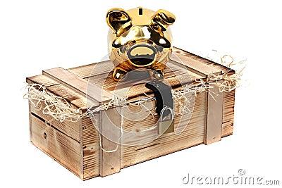 Golden piggybank on wooden case locked with padloc