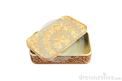 Golden plastic box isolated on white background