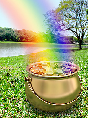 Free Golden Pot Full Of Gold Coins Stock Images - 3888894