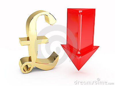 Golden pound symbol and up arrows