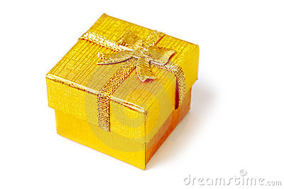 Golden present box isolated