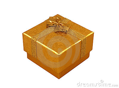 Golden present box isolated on white
