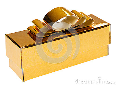 Golden present box with yellow ribbon