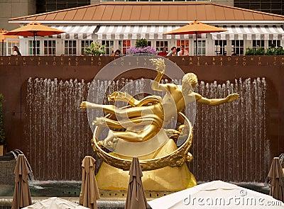 Golden Prometheus statue Editorial Photo