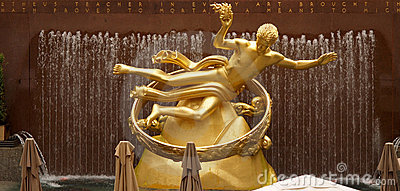 Golden Prometheus statue at the Rockfeller Center Editorial Photo
