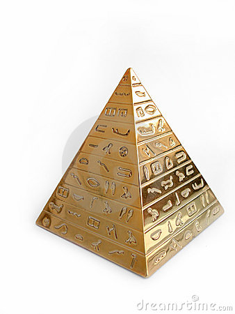 Free Golden Pyramid With Hieroglyphs On A White Background Stock Photos - 1289233
