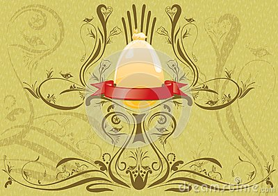 Golden rabbit on the egg with ribbon for text