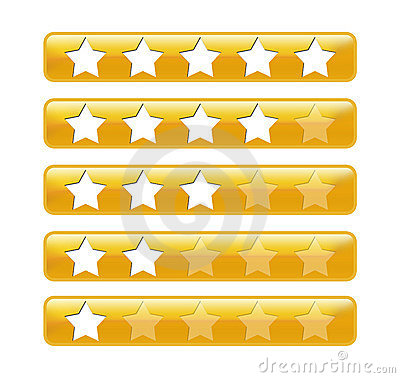 Golden rating bars with stars