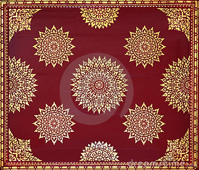 Golden on red thai painting wallpaper