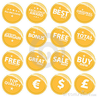 Free Golden Retail Web Stickers Royalty Free Stock Photography - 5208717