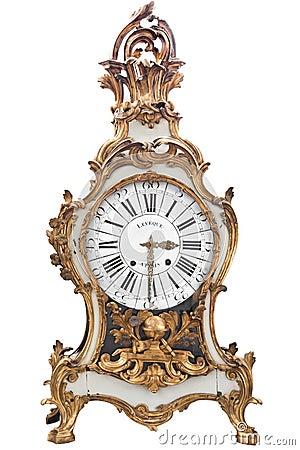 Golden retro clock.