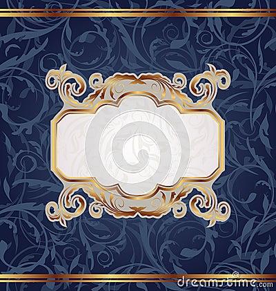 Golden retro emblem, seamless floral texture