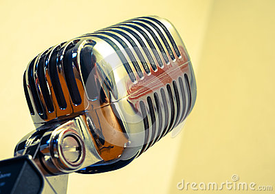Golden retro microphone