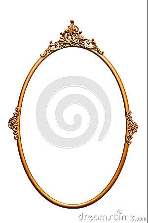 Free Golden Retro Mirror Frame,isolated On White (No5) Stock Photos - 19889863