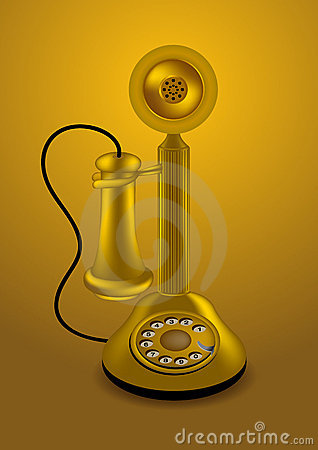 Golden retro telephone