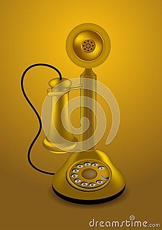 Golden retro telephone