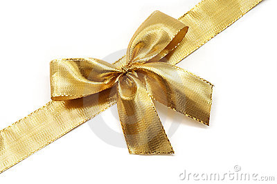 Golden ribbon with a bow