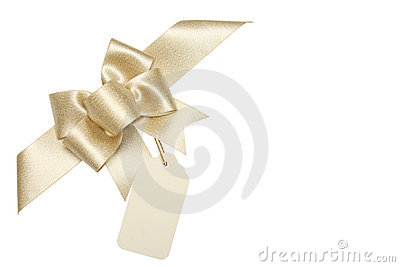 Golden ribbon bow with blank gift tag