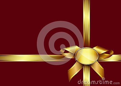 Golden ribbon bow and label on red invitation card