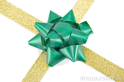 Golden ribbon with green bow