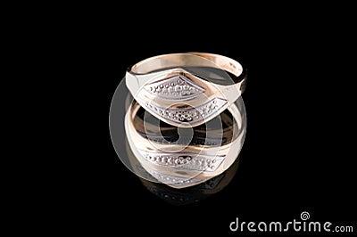 Golden ring on black macro