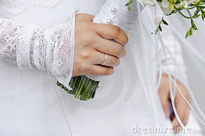 Golden ring on bride s finger