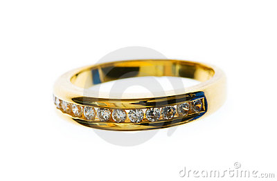 Golden ring with  diamond isolated