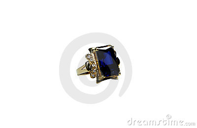 Golden ring with emerald stone