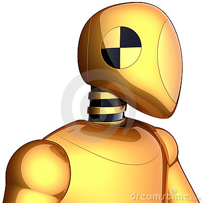 Golden robot crash test dummy
