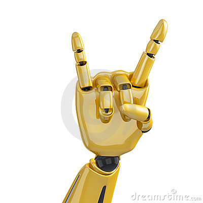 Golden robotic hand giving the sign of horns