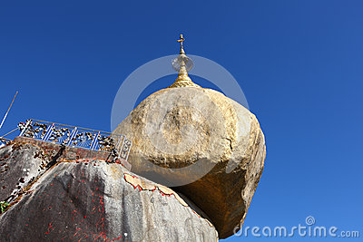 Golden rock pagoda a Buddhist pilgrimage site in M