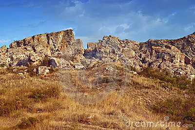 Golden rocks and grass