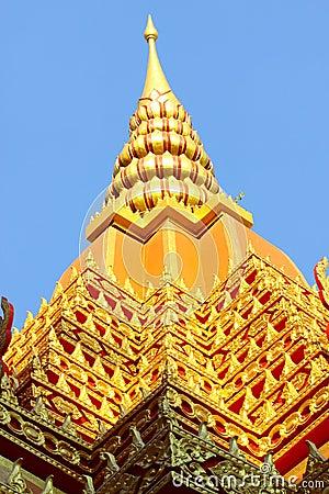 Golden roof that like pagoda of Pra-bart pavilion