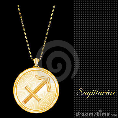 Golden Sagittarius Pendant Necklace