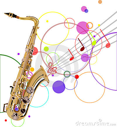 Golden saxophone and music background