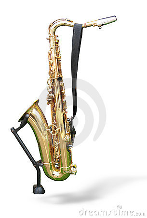 Golden saxophone on a support isolated