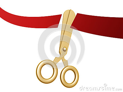 Golden scissors and ribbon