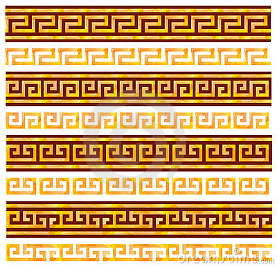Golden seamless meanders. Ancient Greek ornaments.