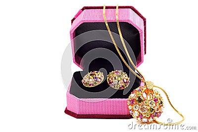 Golden set with gems