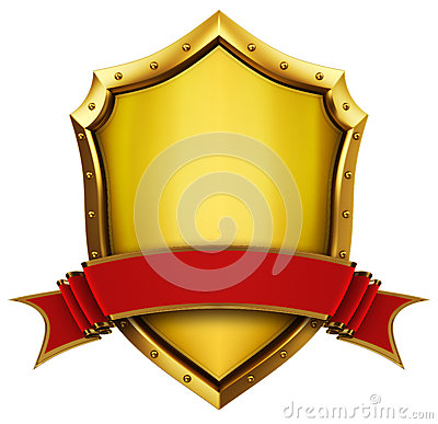 Free Golden Shield And Ribbon Stock Image - 25054861